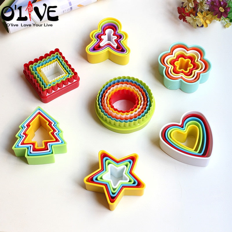 Christmas Cookie Cutter Set Fondant Molds Biscuit Shape Cake Forms Plunger Flower Cookie Stencil