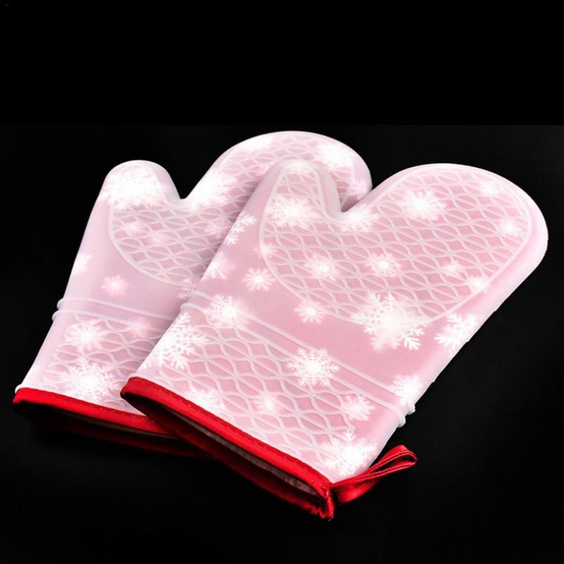 Christmas Silicone Cloth Gloves Microwave Non-slip Silicone Printing Gloves Insulated Gloves Kitchen