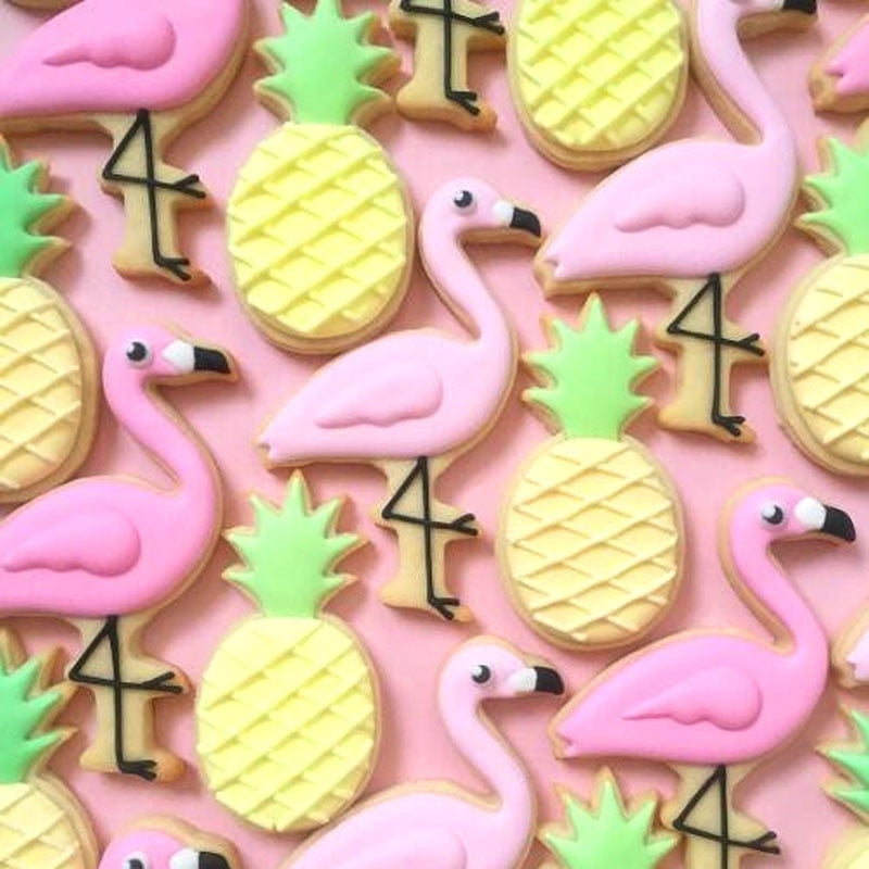 Flamigo Cookie Cutters Ins Style Summer Party Cactus Pineapple Coconut Tree Stainless Steel
