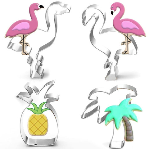 Cokytoop Flamigo Cookie Cutters Ins Style Summer Party Cactus Pineapple Coconut Tree Stainless Steel