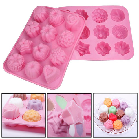Cute 12 Holes Flowers Silicone Mold Muffin Tray Candy Cookie Jelly Chocolate Moulds Bakeware Sets