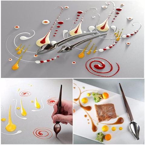 2 Size Stainless Steel Chocolate Spoon Pencil Filter Spoons Cake Decoration Baking Pastry