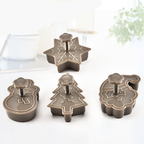 DIY 4pcs Christmas Tree Snowman Plastic Baking Mold Kitchen Biscuit Cookie Cutter Pastry Plunger