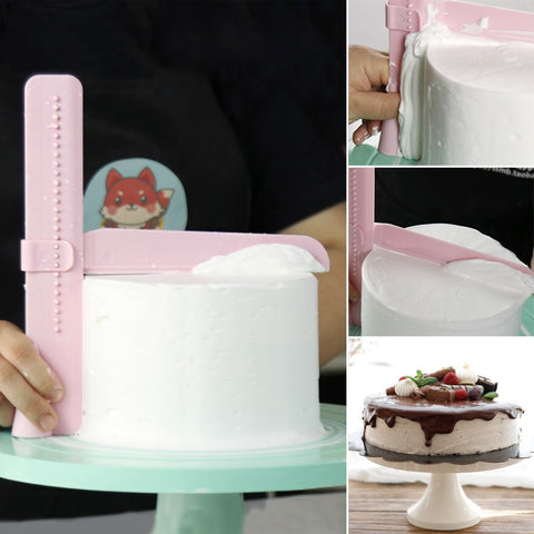 DIY Cake Scraper Smoother Adjustable Fondant Spatulas Cake Edge Smoother Cream Decorating Bakeware