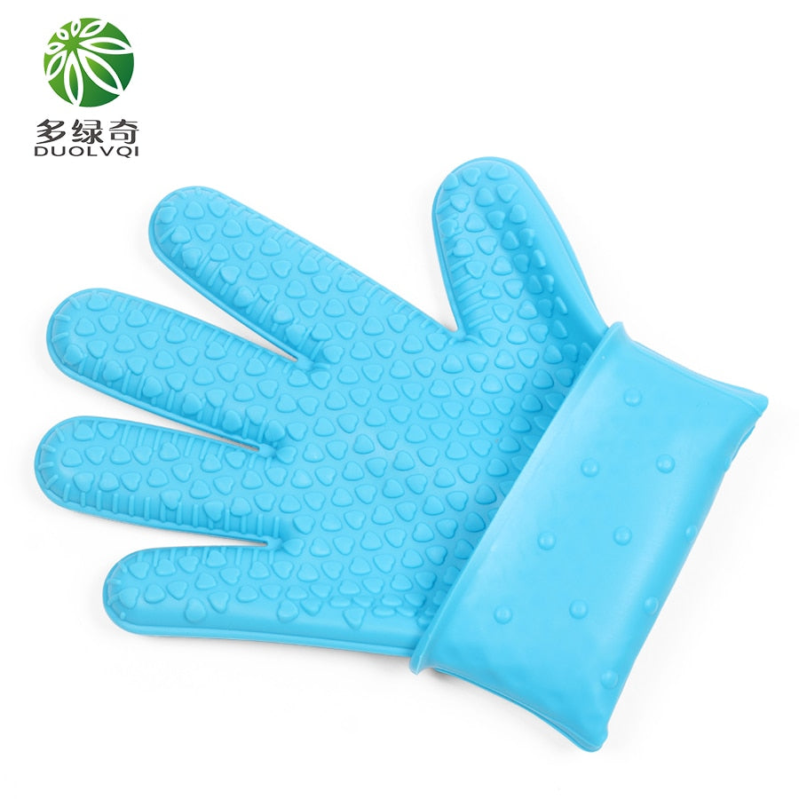 DUOLVQI Orange Blue Red Rose Red Green Color Silicone Glove Cooking BBQ Oven Pot Holder Mitt kitchen