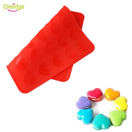 Delidge 1 pc 30 Holes Macaron Mat Red Heart Shape Silicone Macaron Molds Muffin Oven Pasta Tools