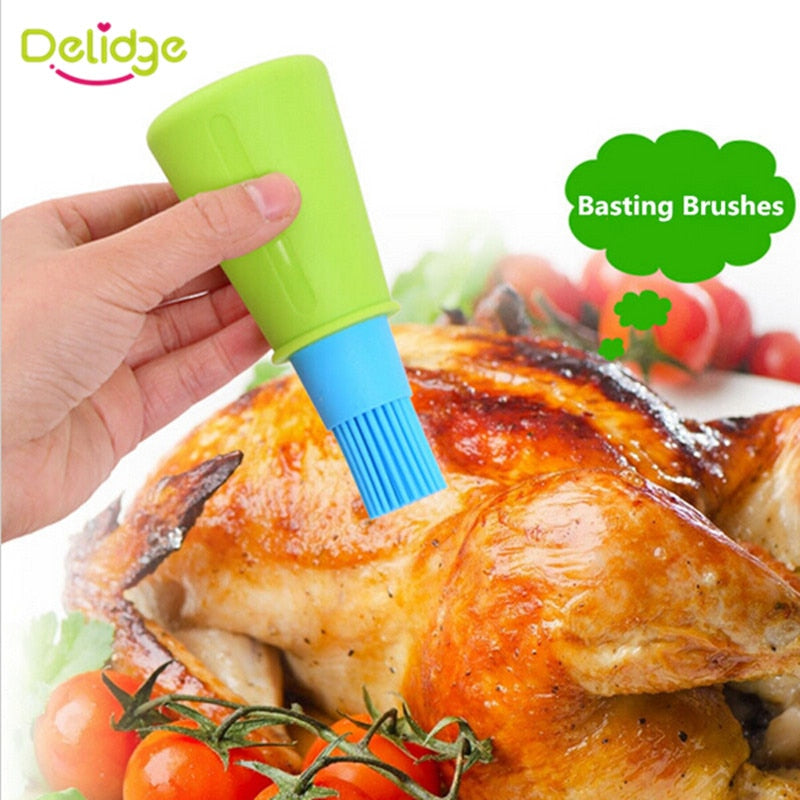 Delidge 1 pc Grill Oil Bottle Brushes Silicone Liquid Oil Pen Cake Butter Bread Pastry Brush