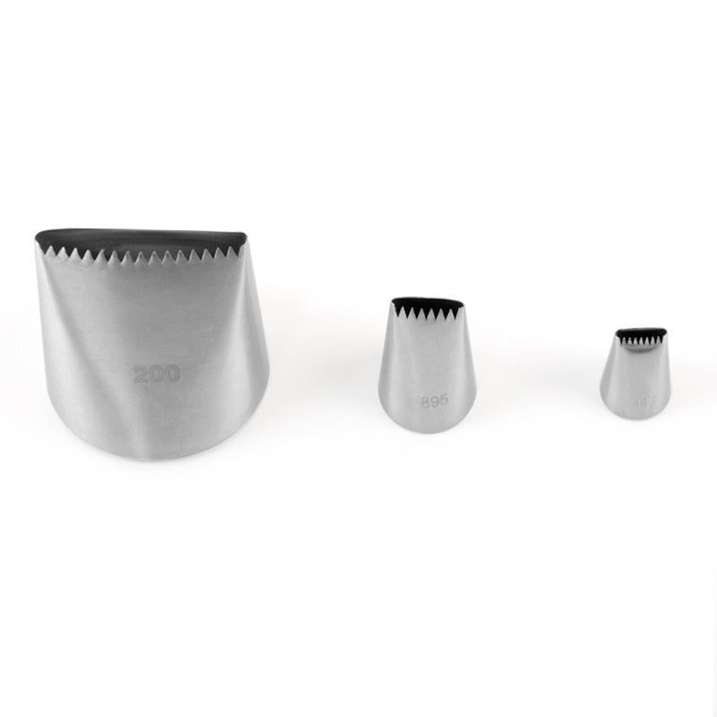 Delidge 3pcs/Set Basketweave Cream Metal Tips Stainless Steel Icing Piping Nozzles Cake Cream
