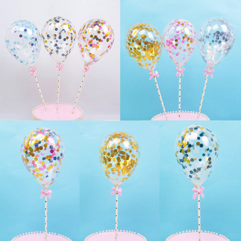 Dessert Birthday Mini Cake Topper Insert Latex Straw Ribbon Balloon Confetti