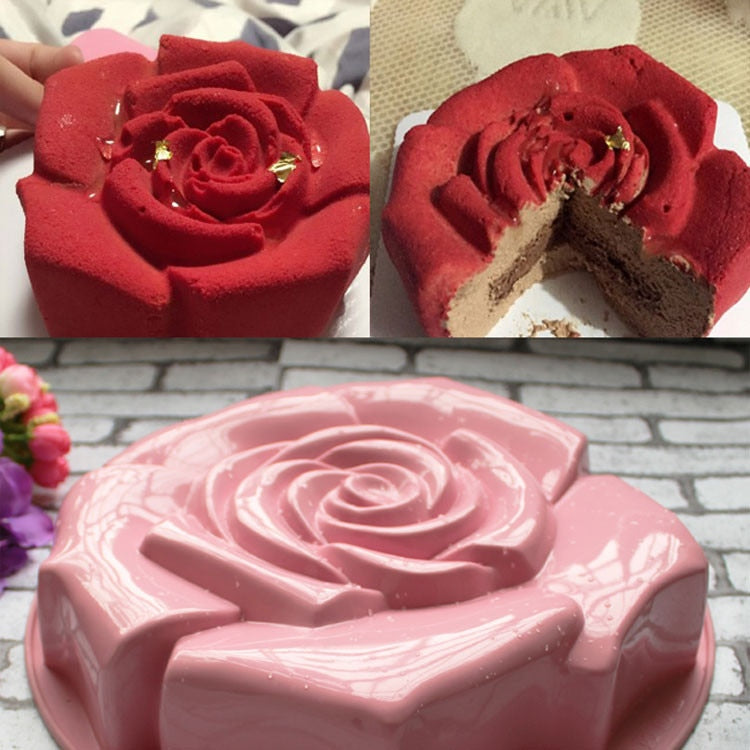 Different Color High Quality Rose Shape Silicone Cake Mould Chocolate Pudding Mold Kitchen DIY