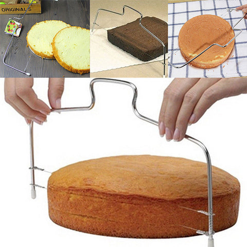 Double Line Adjustable Metal Cake Cutter Stainless Steel Cake Pastry Slicer Tools Decorating Mold