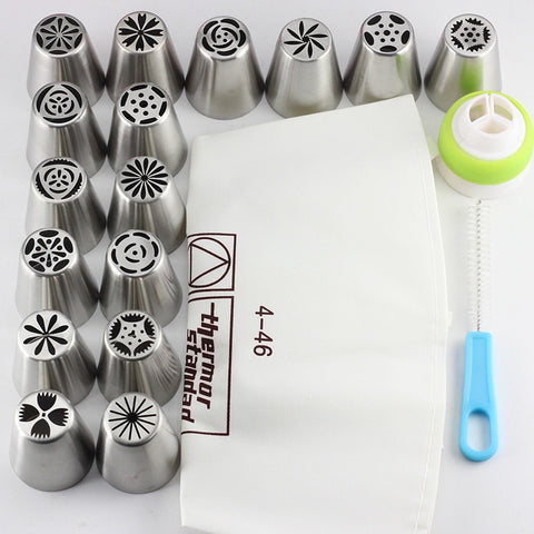 Dropship 16PCS/Set Russian Icing Piping Tips Cotton Pastry Bag Coupler Pastry Nozzles Brush