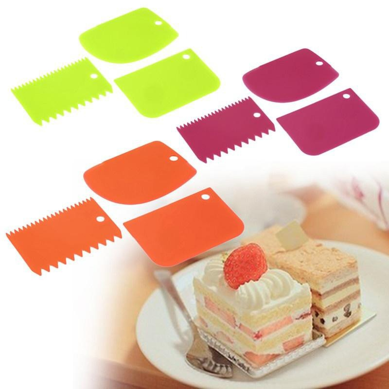 ENGDASH 3pcs Plastic Dough Icing Fondant Scraper Set Cake Decorating Cream Scraper Cake Cut Knife