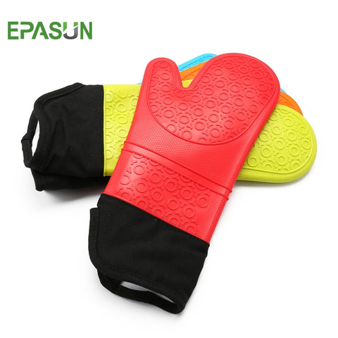 EPASUN 1pcs Long Mitts Oven Glove Silicone Cotton Pot Holder BBQ Glove Kitchen Microwave Grilling