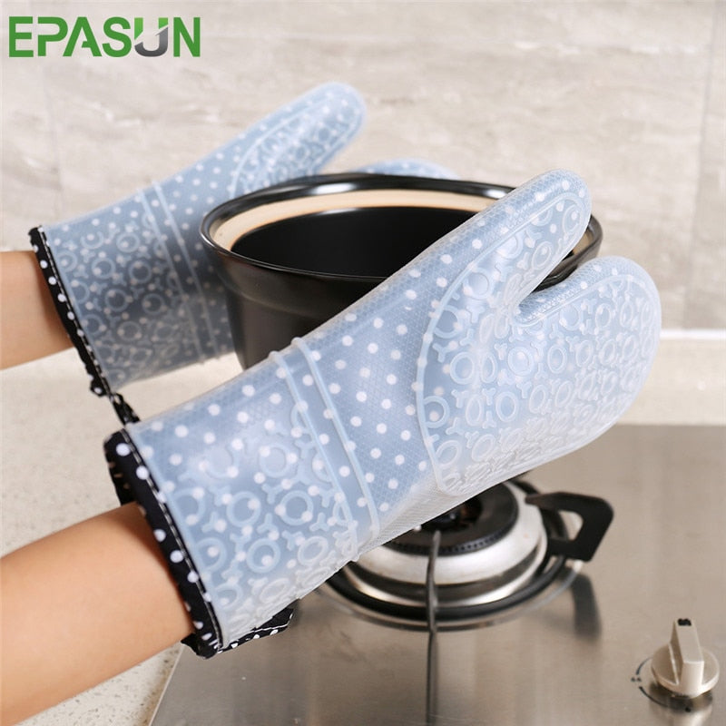 EPASUN Long 1pcs Kitchen Oven Glove Mitts Silicone Pot Holder Kitchen Microwave Baking Glove