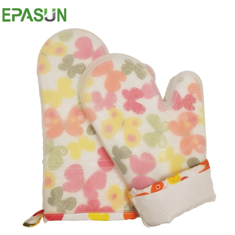 EPASUN Printed 1pcs Mitts Oven Glove Silicone Cotton Pot Holder Kitchen Microwave Grilling Baking