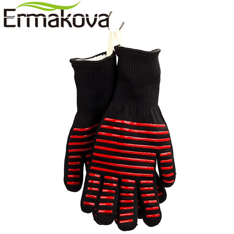 ERMAKOVA BBQ Gloves Heat Resistant Grill Gloves Non-slip Silicone Coated Pot Holders Oven Mitts