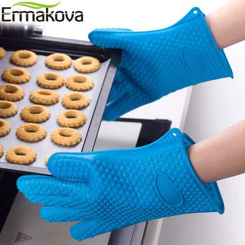 ERMAKOVA Thickening Silicone Glove BBQ Grill Glove Oven Mitts Barbecue Oven Baking Glove Pinch Mitts