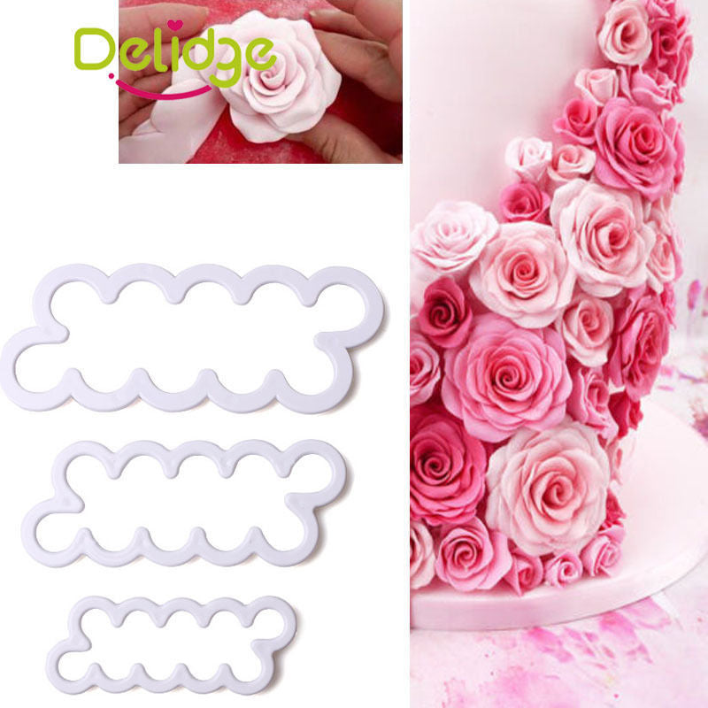 Rose Fondant Icing Tool Decor Mould Sugarcraft Tools Bakeware Sets Cake Decorating