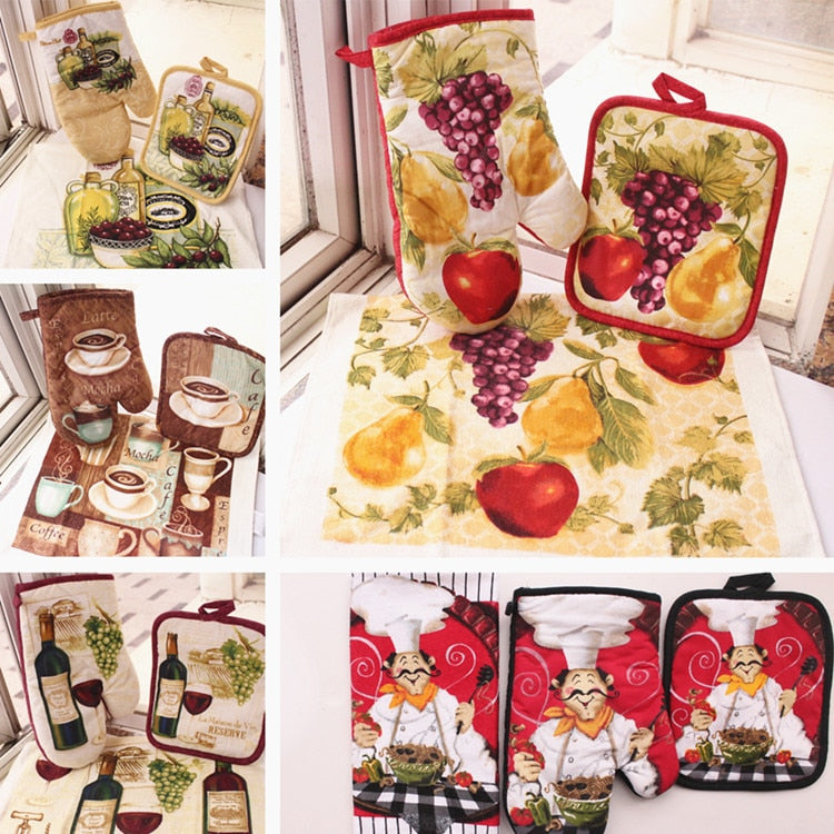 European style 100% Cotton Kitchen Fruit Coffee Designs Oven Gloves Potholders Towels As Kitchen