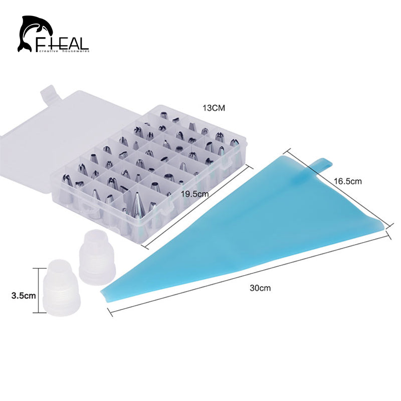 FHEAL 51pcs/set Dessert Decorators Silicone Icing Piping Cream Pastry Bag+48 Stainless Steel