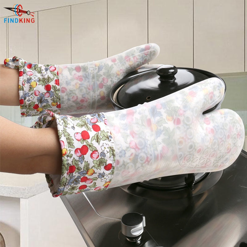 FINDKING 1 pcs Silicone Oven Mitt, Ideal Protection with Extra Long Thick Quilted Cotton Liner,
