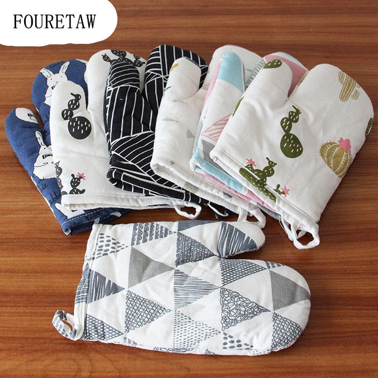 FOURETAW 1 Piece Cute Cartoon Animals Cotton Fashion Nordic Kitchen Cooking microwave gloves