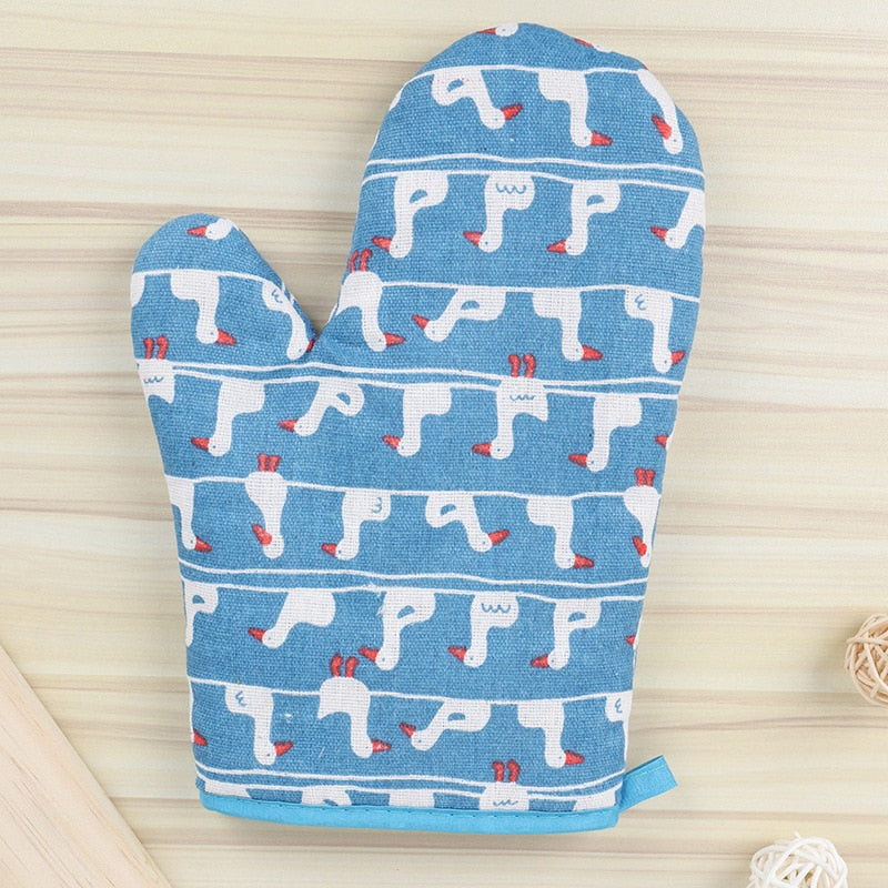 FOURETAW 1 Piece High Quantity Cute Animals Cotton Nordic Kitchen Cooking microwave gloves baking