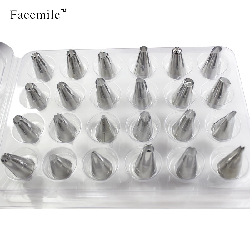 Facemile 24Pcs/set Large Stainless Steel Icing Piping Nozzles Pastry Tips Set For Cake Decorating
