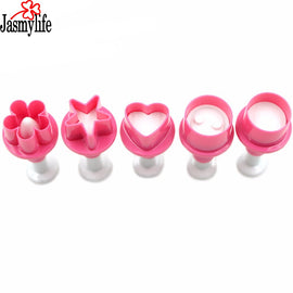 Flower Plunger 5pcs Cutter Heart Fondant Sugar Craft Mold Five-Pointed Star Round Cookie Cutter