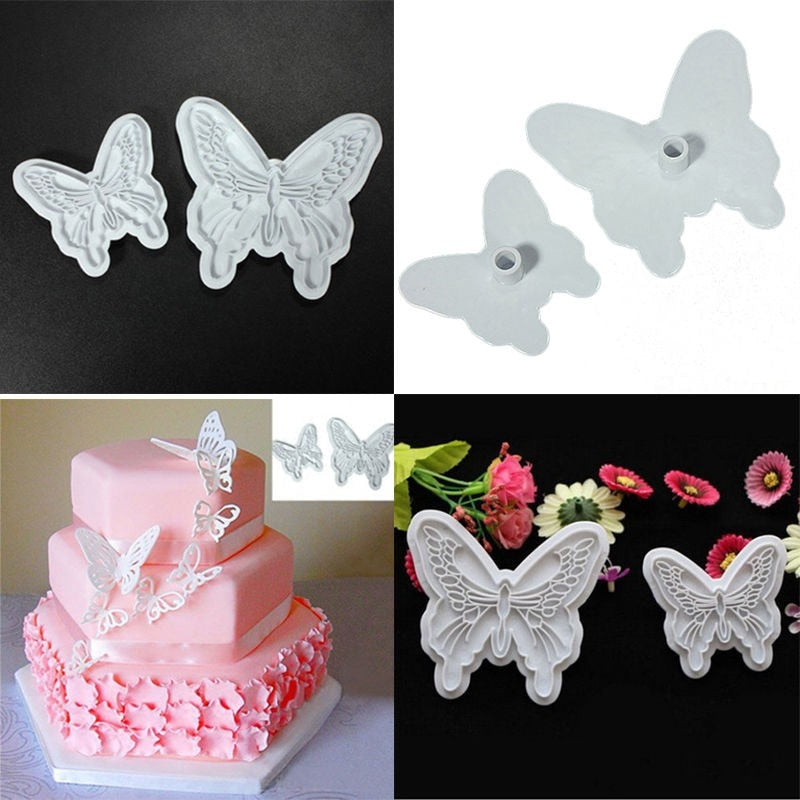 Food-Grade Plastic Butterfly Shape Mold Cake Fondant Decorating Cookie Plunger Cutters DIY Baking