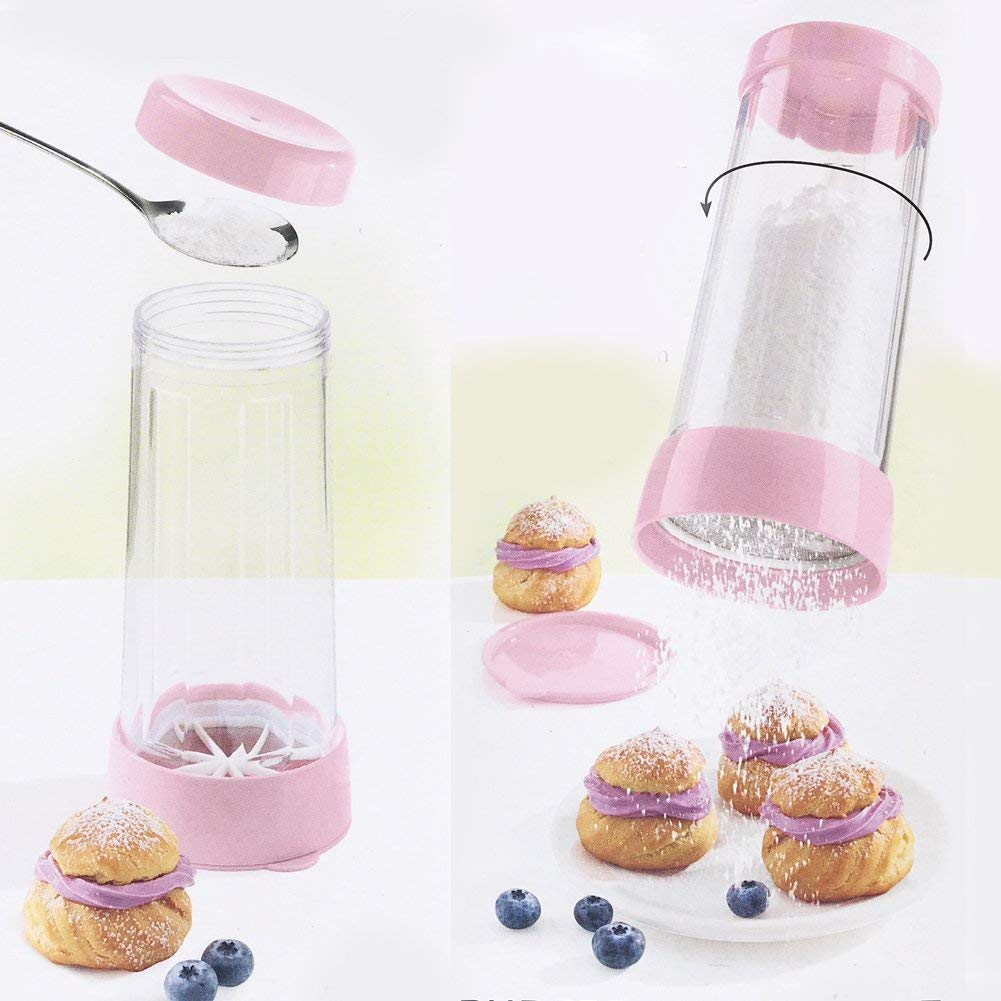 Food Grade Plastic Icing Sugar Dispenser with Lid Chocolate Coffee Cocoa Powder Sugar Shaker