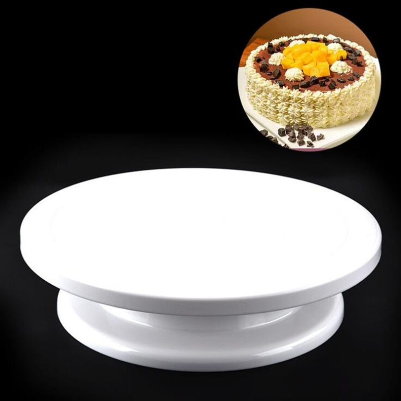 Food grade plastic DIY manual cake turntable,Rotating Decorating Platform Stand for Fondant Baking