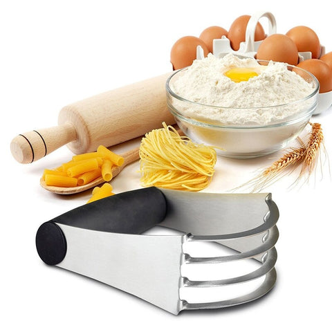 GOONBQ 1 pc Pastry Blender Stainless Steel Flour Mixer Pastry Dough Cutter Blender Whisk Tool Rubber