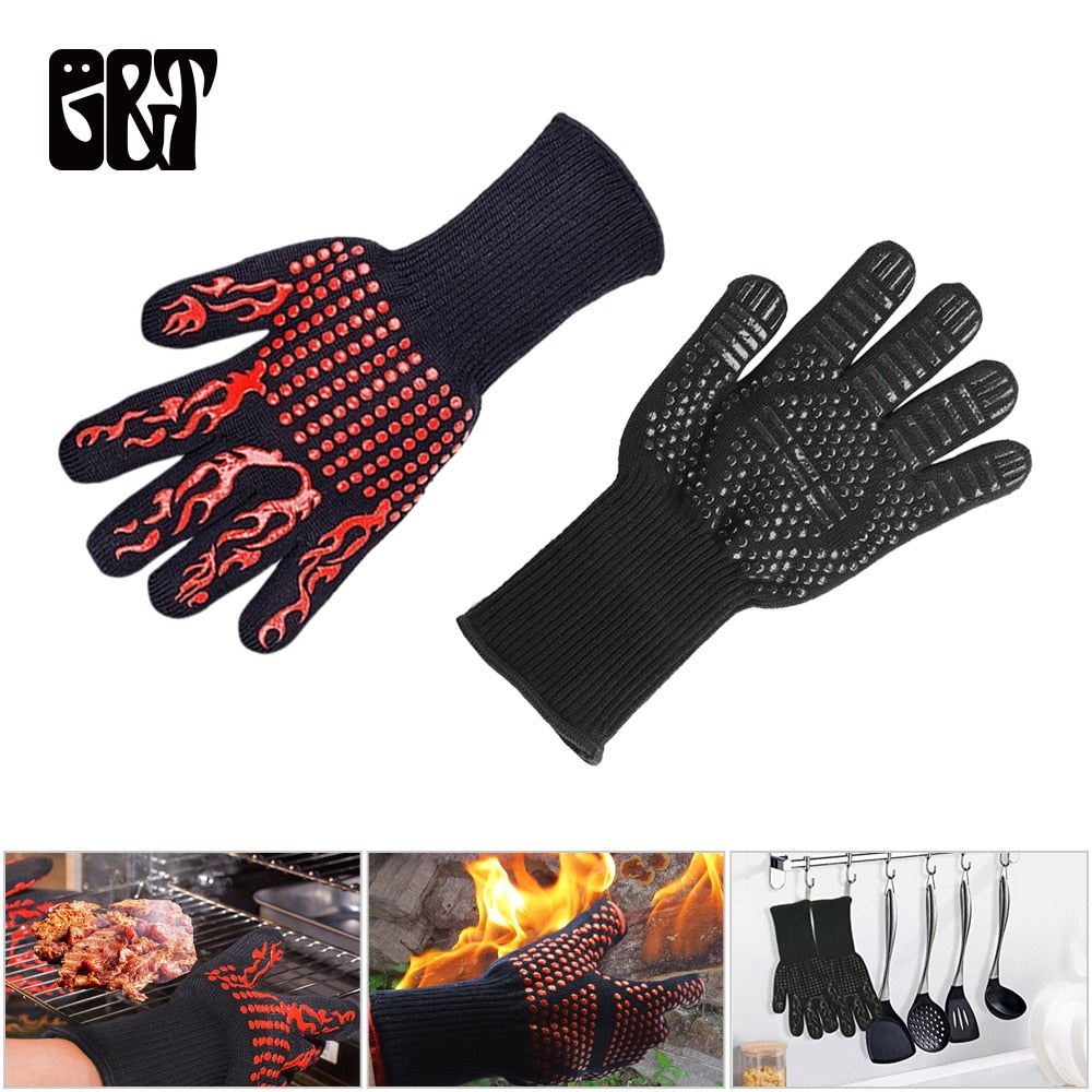 GT 1 Pair Kitchen Glove Non-Slip Silicone Dot Oven Thick Silicone Cooking Baking Barbecue Oven Glove
