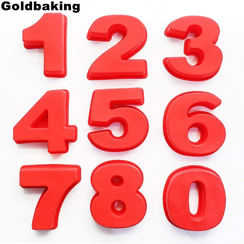 Goldbaking 10 Inch Large Silicone Number Molds 0-9 Arabic Number Cake Mold Baking Mold for