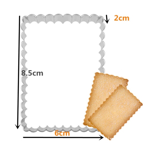 Goldbaking Shortbread Cookie Cutter Stainless Steel Fluted Rectangle Cookie and Biscuit Cutters