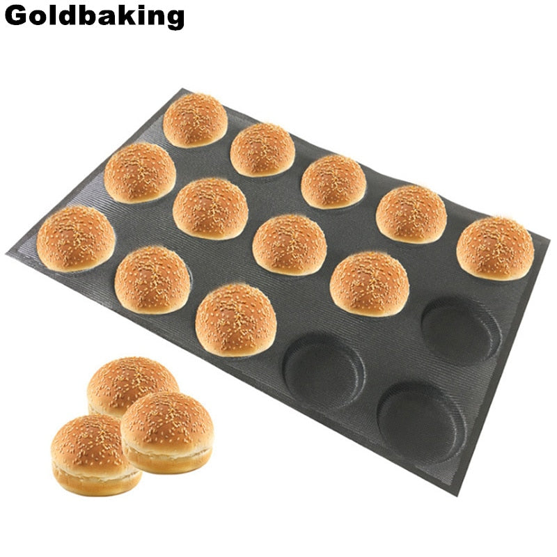 Goldbaking Silicone Bun Bread Forms Non Stick Baking Sheets Perforated Hamburger Molds Muffin Pan