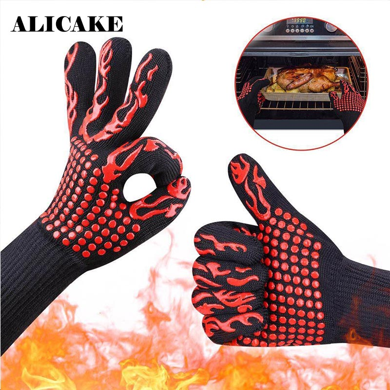 Grill Insulation Microwave Oven Gloves Spot High Temperature Resistant 500 800 Degrees BBQ Flame
