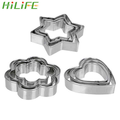 HILIFE Baking Mould Baking Mould Star Heart Flower Cutter 3pcs/set Stainless Steel Egg Mould Cookie
