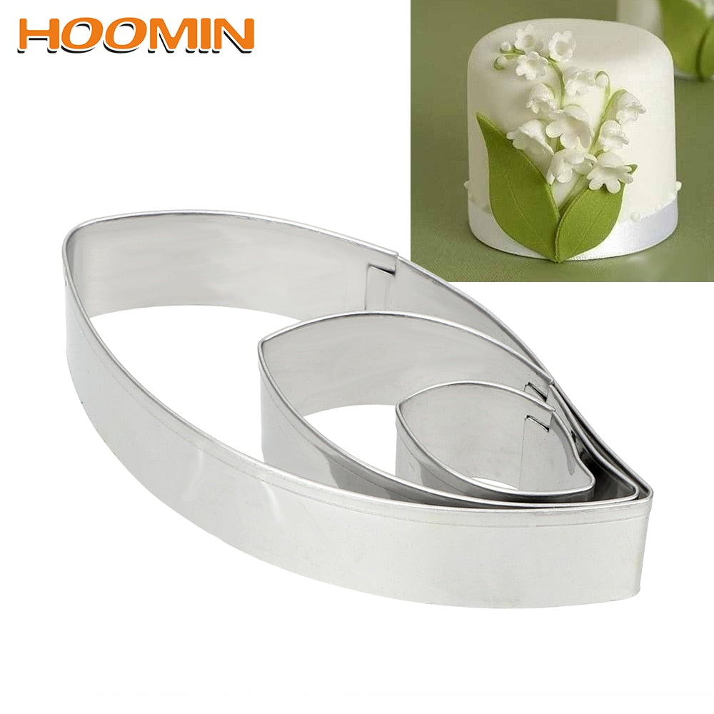 HOOMIN 3pcs/set Leaf Shape Cookie Mold Fondant Cake Baking Mold Stainless Steel Biscuit Cookie