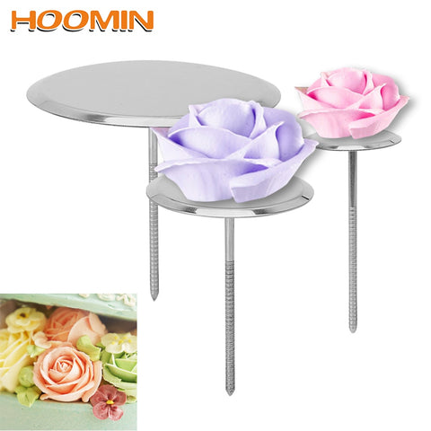 HOOMIN Stainless Steel Piping Nail Cake Flower Nails DIY Needle Stick Baking Piping Stands Tools Ice