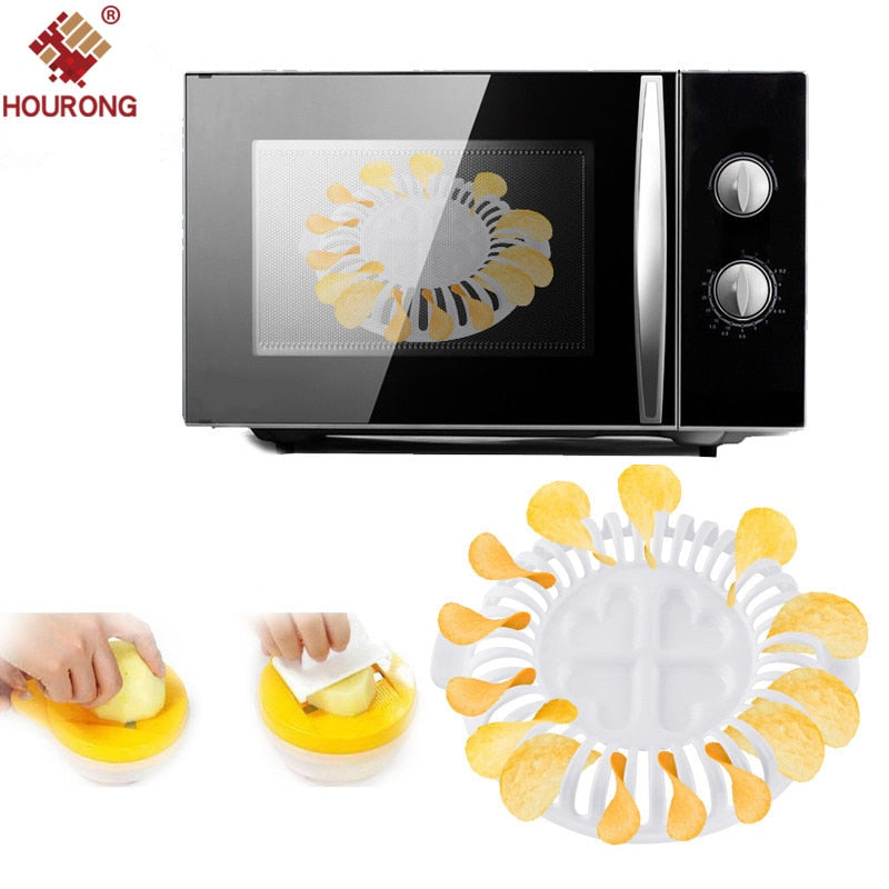 HOURONG 3Pcs/Set DIY Low Calories Microwave Oven Fat Potato Chips Tray Potato Rack Holder Maker