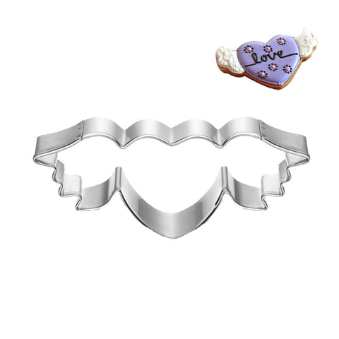 Heart Metal Cookie Cutter Angel Wing Valentine Cake Decorating Tool Party Patisserie Gateau Love