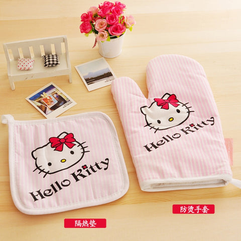 Hello kitty Kitchen Cooking Microwave Oven Insulation Gloves Pads Cotton Thickening Non-slip Gloves