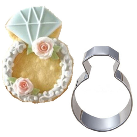 Hot Lady Wedding Party Diamond Ring Cookie Mold Stainless Steel Kitchen Accessories Baking Tools