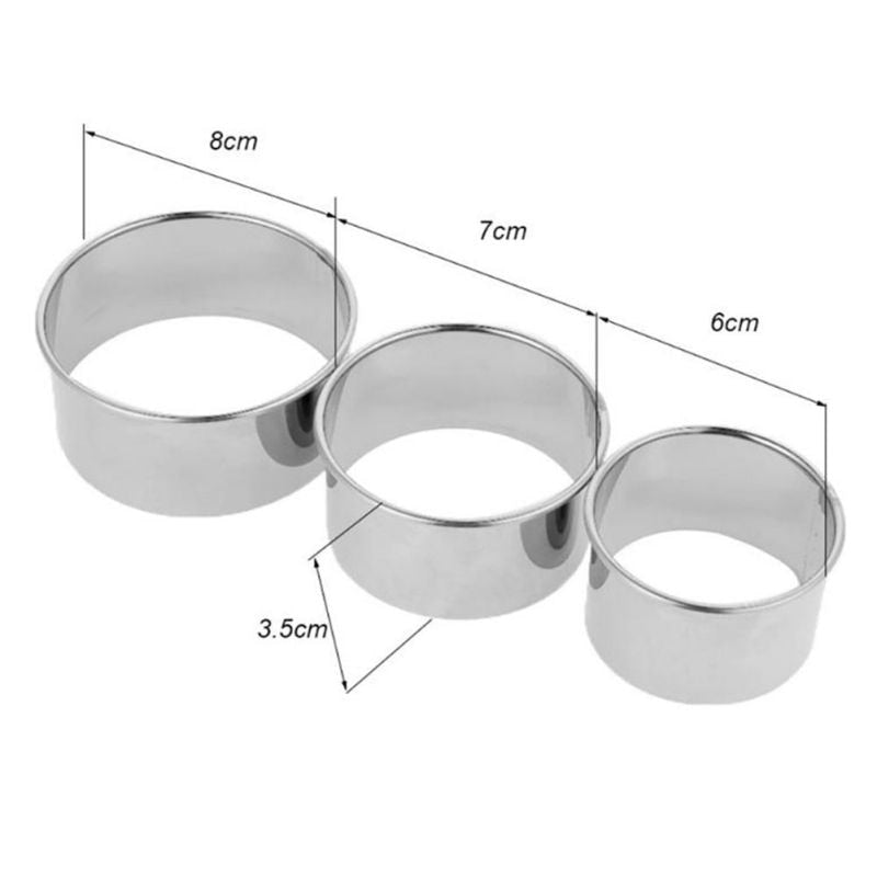 Hot Sale 3pcs/set Stainless Steel Round Dumplings Cutters Molds Maker Tools Round Cookie Pastry