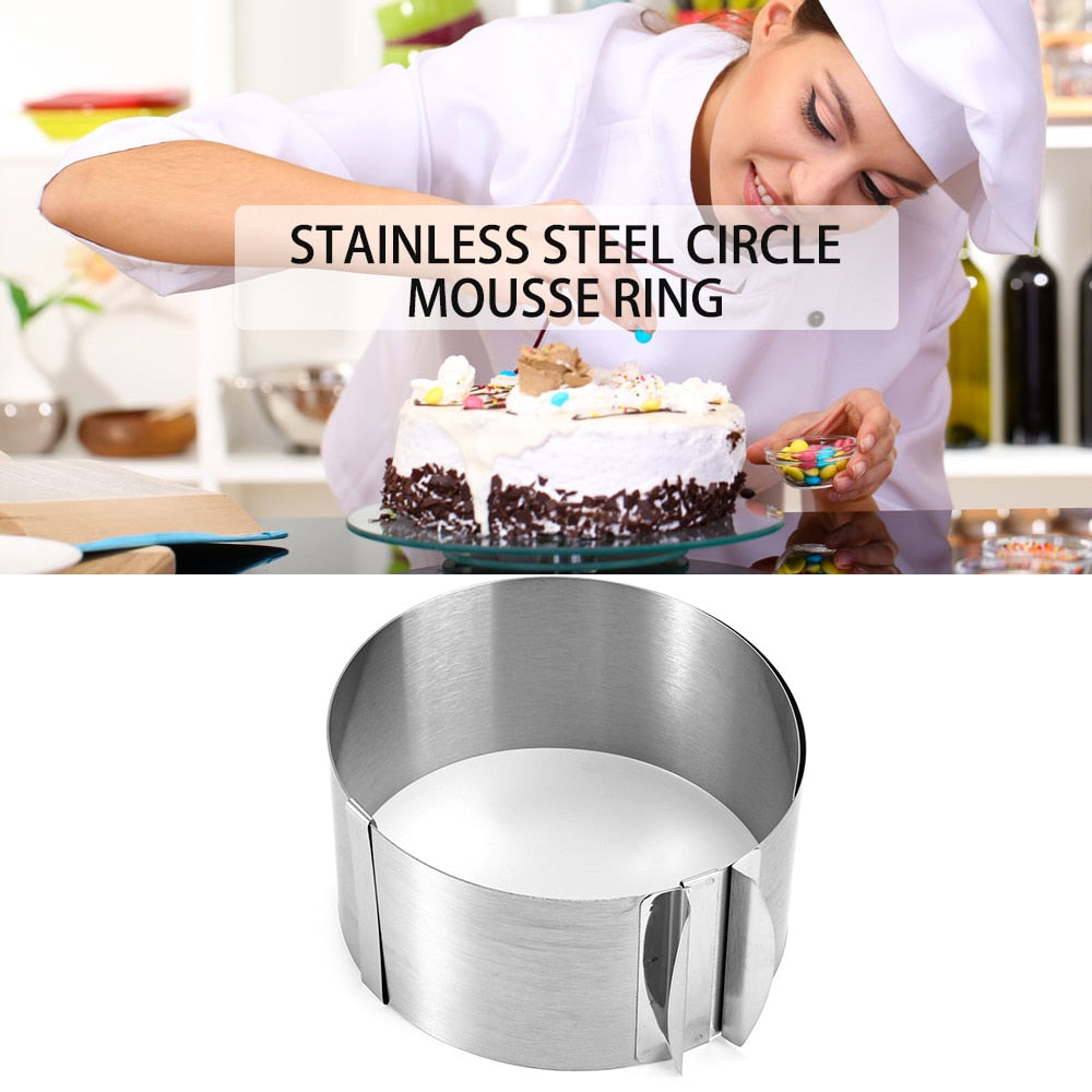 Hot Sale Retractable Mousse Ring Baking Tool Set Stainless Steel Circle Cake Mould Mold Size