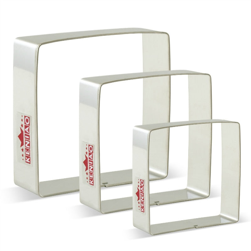 KENIAO Square Cookie Cutters Set for Birthday Pastry - 3 Piece - Large/Medium/Small Fondant Cookie