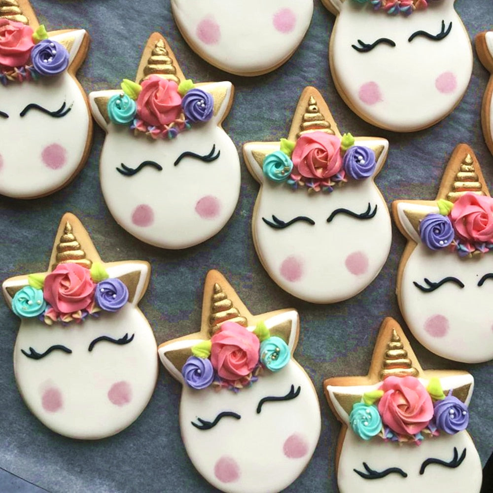KENIAO Unicorn Face Cookie Cutter for Kids Birthday Party Cutters - Biscuit / Pastry / Bread